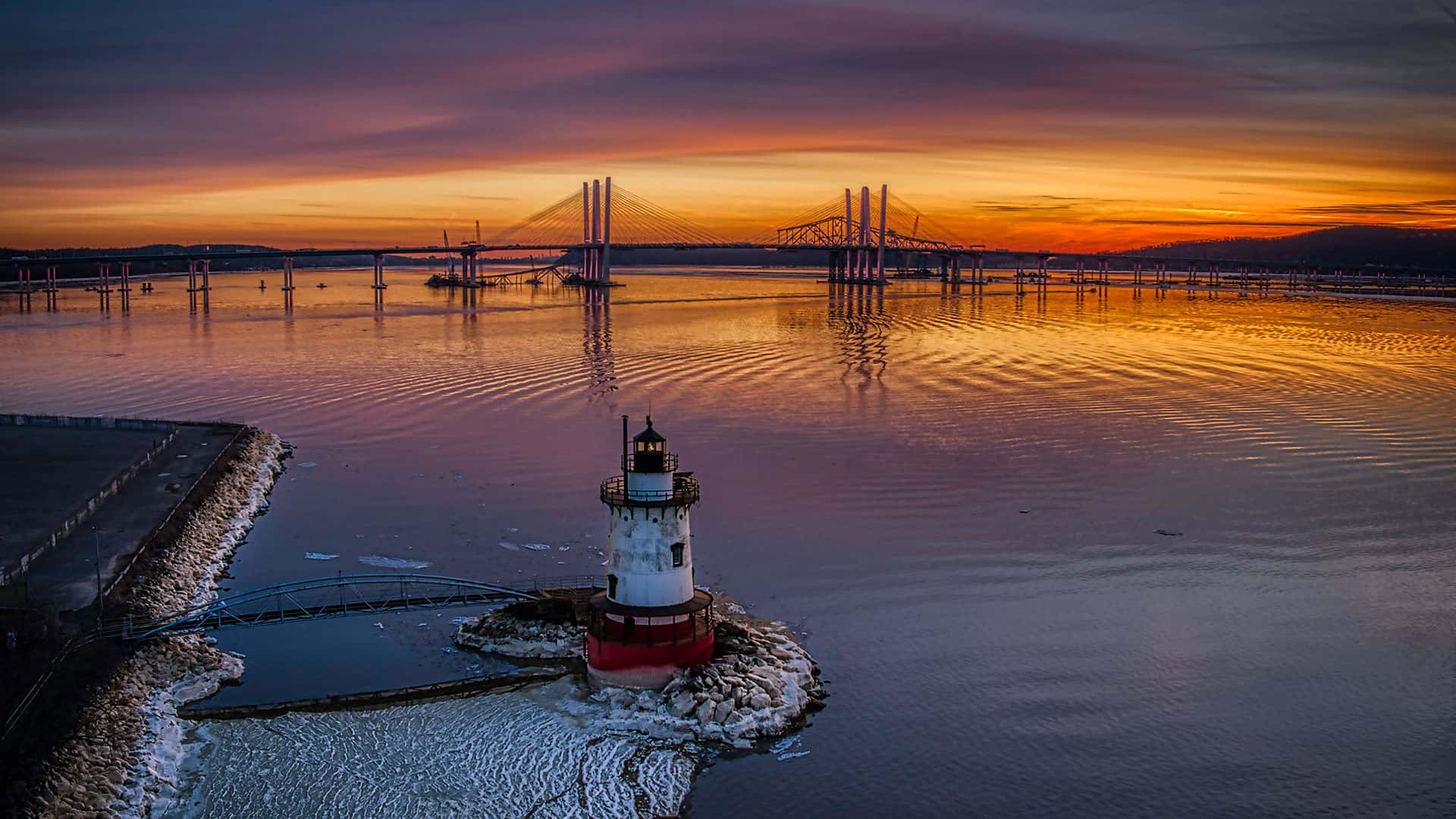Sunset over the Hudson River and the Tappan Zee Bridge and Lighthouse