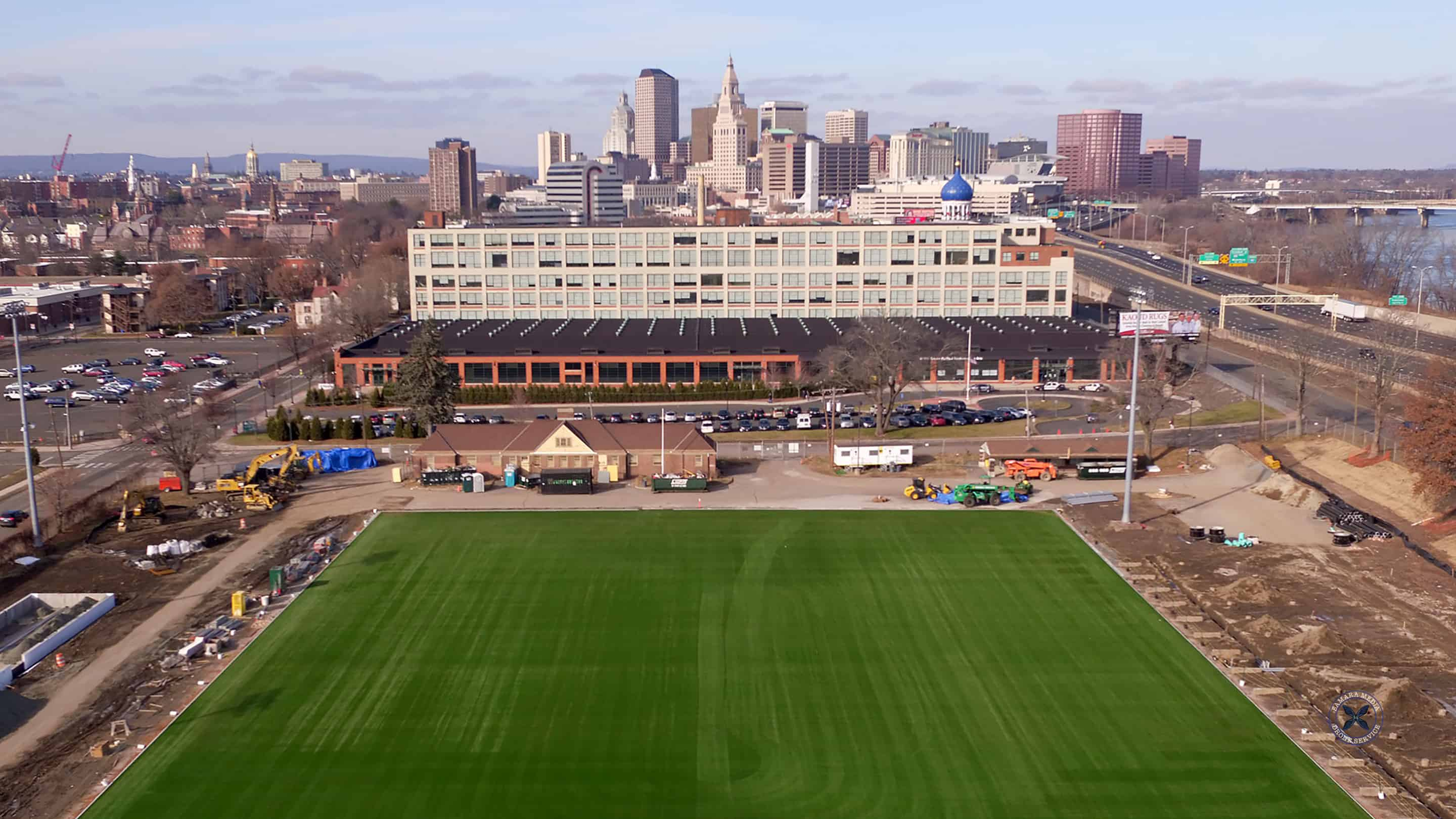 Construction continues on the soccer field at Dillon Stadium in Hartford Connecticut
